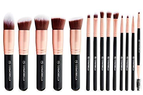 Cosmobella™ Premium Synthetic Kabuki Makeup Brush Set | Includes Foundation Brushes, Concealers, Eye Shadows, Eye Liner | Ultra Soft, Silky, Firm, Non-Shedding | Luxury Black & Rose Gold (14Pcs)