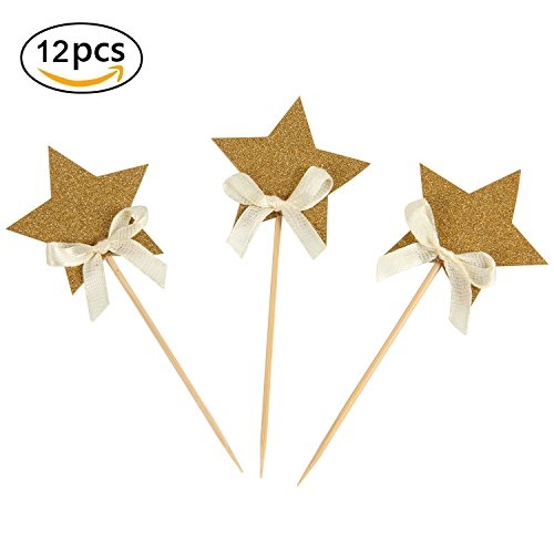 [Pack of 12] INNORU Gold Star Cupcake Toppers Gold Glitter Cake Toppers for Birthday ,Wedding ,Anniversary and More