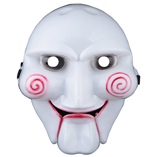 Saw Clown Halloween Costume (Scary Saw Billy Mask for Halloween Masquerade Party Cosplay 10'' 7'')