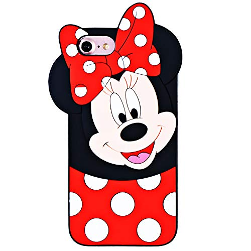 TopSZ Case for iPhone 8/7/6/6S 4.7,TopSZ Cute Silicone Couple Lover 3D Cartoon Cool Kawaii Animal Cover,Soft Rubble Skin for iPhone 8 7 6,Funny Character Cases for Kids Girls Teens boy Guys-Minnie