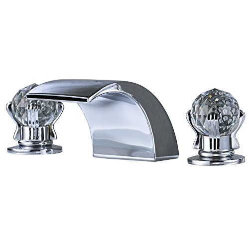 Senlesen LED Light Waterfall 3 Holes Bathroom Sink Faucet Two Crystal Knobs Widespread Mixer Tap Bathroom Faucet Chrome Polished