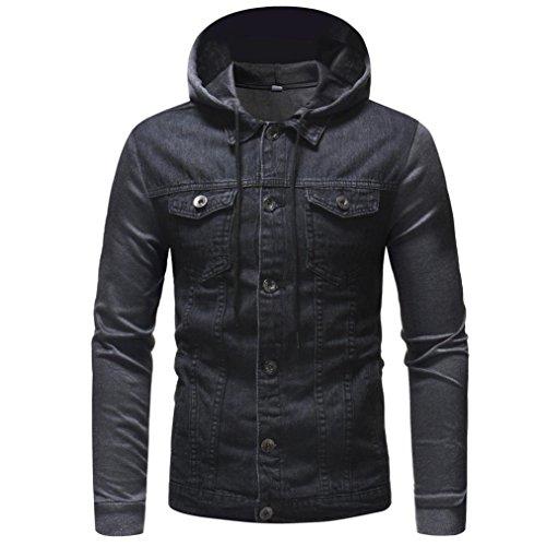 WUAI Men's Hoodie Sweatshirt Fashion Vintage Distressed Heavyweight Regular-Fit Sports Denim Jacket Outwear(Gray,US Size S = Tag M)