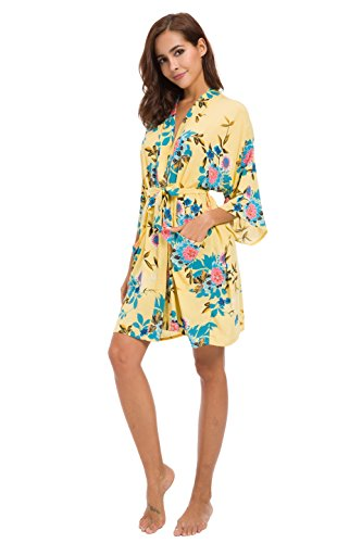 Robe&Wedding Bride Robe Women Robe Cotton Robe Short Style Sex Women Robe (on-Seam Pocket) (Yellow) by Robe&Wedding