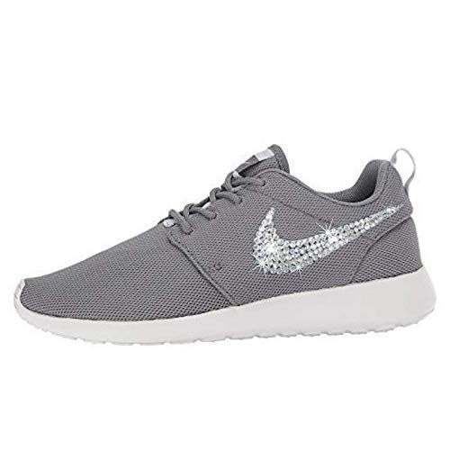 fad4e2cd7fd6 Amazon.com  Swarovski NIKE Bling Grey and White Roshe Two Casual Custom  Crystal Bedazzled Kicks SparkleBoutique2U  Handmade