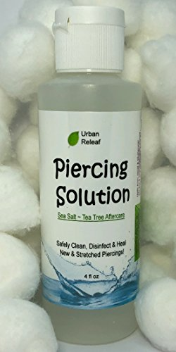 PIERCING SOLUTION ! Healing Sea Salts & Tea Tree AFTERCARE 4 oz, Ready to use. Safely Clean, Disinfect & Heal New & Stretched Piercings. Gentle Effective Natural & Soothing. Works fast (Aftercare Piercing)