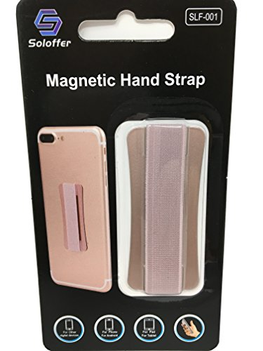 Magnetic Hand Strap - Holds Device with Fingers - Extreme Thin - for Most Mobile/Tablet Devices - Compatible with Magnet Phone Car Holder (Rose Gold) Hands Magnet