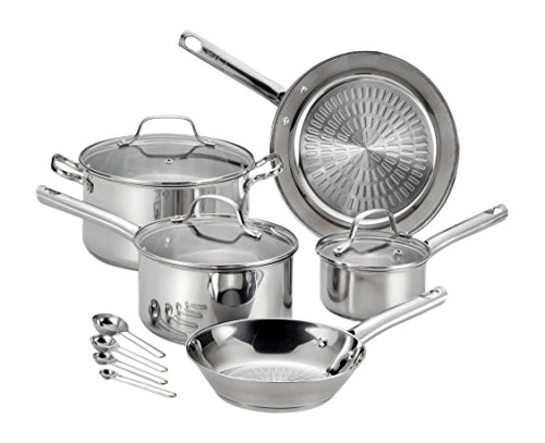 T-fal E760SC Performa Stainless Steel Dishwasher Safe Oven Safe Cookware Set, 12-Piece, Silver