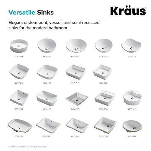 KRAUS Elavo 17 Inch Oval Undermount Porcelain Ceramic Bathroom Sink in White with Overflow, KCU-211 by Kraus (Image #7)