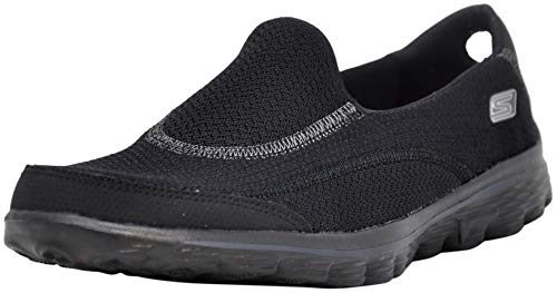 Skechers Performance Women's Go Walk 2 Slip-On Walking Shoe, Black/Silver, 8 M US (Skechers Shoes Black Women)