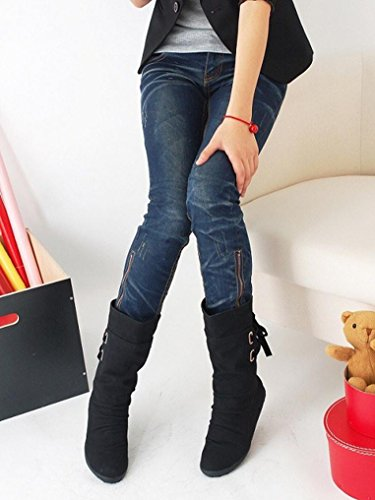 Women Womens Ankle Wedge Low Shoes Boots Biker Leather Trim Buckle Black Boots Ankle Flat Honestyi Artificial Ladies dq8wOTXdt