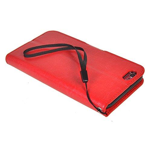 iPhone 6 Plus/ 6s Plus (5.5 inches) Funda,COOLKE Retro PU Leather Wallet With Card Pouch Stand de protección Funda Carcasa Cuero Tapa Case Cover para Apple iPhone 6 Plus/ 6s Plus (5.5 inches) - Rosa Rojo