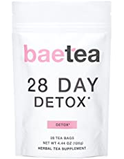 Baetea 28 Day Teatox: Gentle Detox Tea. Reduce Bloating and Constipation. Appetite Suppressant. 28 Pyramid Tea Bags. Natural Weight Loss Tea. Ultimate Body Cleanse.*