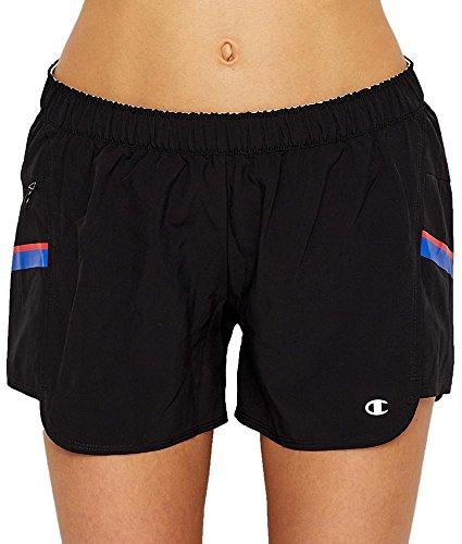 Champion Women's Woven Train Short, Black/Pocket Stripe, L