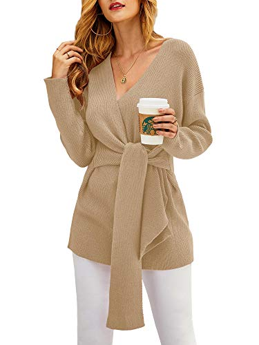 Foshow Womens Wrap Front V Neck Sweater Dresses Sexy Long Sleeve Tie Waist Knot Rib Knitted Pullover Dress Jumper Tops
