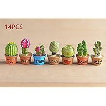 URToys 14Pcs Artificial Cactus Pot Fake Flower Fairy Micro Garden Statue Miniature Bonsai Terrarium Jardin Home Resin Craft Decoration