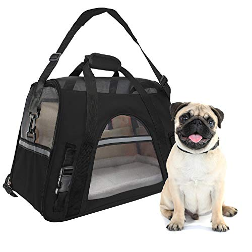 WMHourse Airline Approved Pet Carrier,Waterproof Pet Travel Carrier with Fleece Bedding Soft Sided Portable Tote for Cats and Small Dogs(Black,18.1″ L x 9.84″ W x 11.8″ H) For Sale