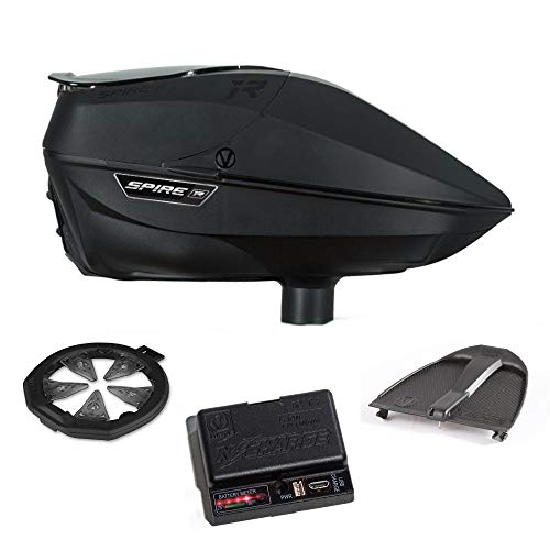 Hopper Wide Bundle - Virtue Spire IR Electronic Paintball Loader, CrownSF II Speedfeed, N-Charge Battery Pack and Spring Ramp Bundle - Black