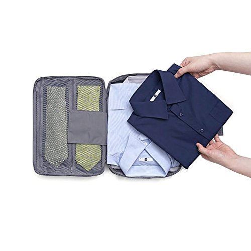 Shirt Tie Organizer Packing Travel Storage Pouch Waterproof for Men Women (Grey)