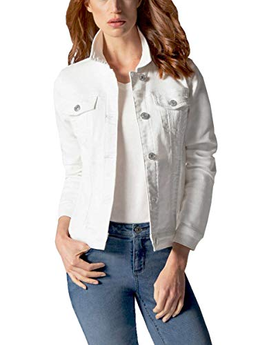 Buffalo David Bitton Women's Knit Stretch Denim Jean Jacket (White, XX-Large) ()