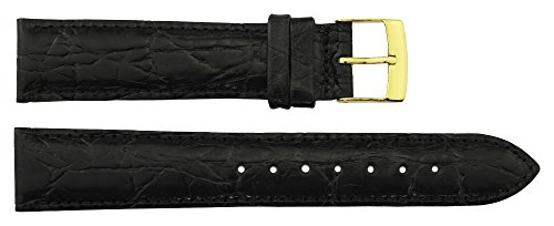 Tellus Black Calf Leather Band Replacement Pin Clasp, 18mm Strap _ B18021