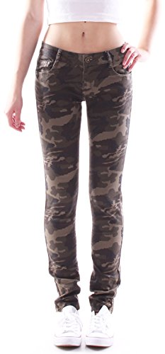 Damen Jeans Hose, Camouflage, Hüfthose, Röhrenjeans in Khaki