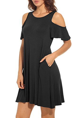 QIXING-Womens-Summer-Cold-Shoulder-Tunic-Top-Swing-T-shirt-Loose-Dress-With-Pockets