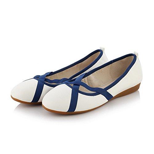 Allhqfashion Da Donna Con Punta Arrotondata E Punta Arrotondata, Colori Assortiti, Ballet-flats Colore Bianco