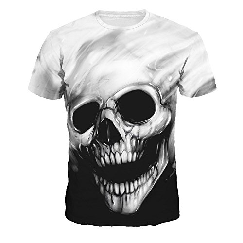 FEDULK Mens Skull Print Tees Round Neck Short Sleeve Regular Fit Funny Tops T-Shirt(Black, -