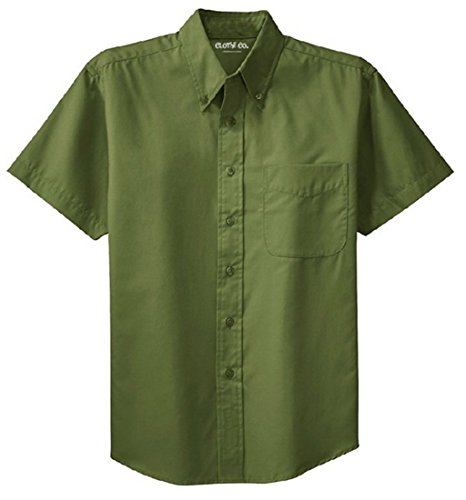 Clothe Co. Men's Short Sleeve Wrinkle Resistant Easy Care Button Up Shirt, Clover Green, 5XL