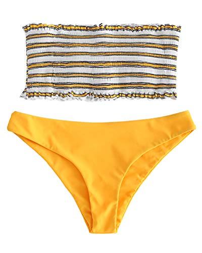 (ZAFUL Women's Striped Smocked Bandeau Top Strapless Two Piece Shirred Bikini Set Swimsuit Bathing Suits Yellow)