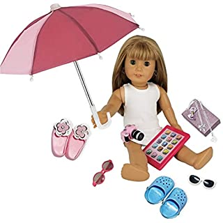 """Fits American Girl Doll Accessories - 18"""" Doll Accessories 11 Piece Set - Includes Doll iPad, Doll Umbrella, Doll Shoes, Jewelry, Camera and Doll Carrier!"""