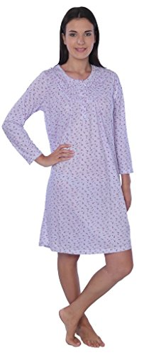(Beverly Rock Women's Floral Long Sleeve Nightgown Available in Plus Size 651B Purple)