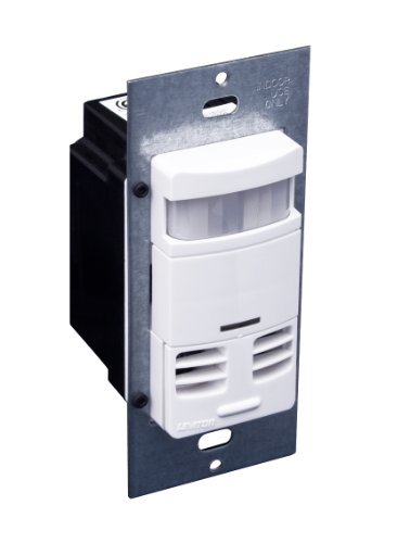 Leviton OSSMT-GDW Ultrasonic/Infrared, Multi-Technology Wall Switch Sensor, No Neutral, 2400 sq. ft. Major & 400 sq. ft. Minor Motion Coverage, White