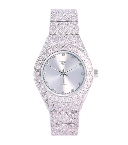 - Men's Iced Out Silver Watch with Simulated Diamonds and Nugget Style Hip Hop Band - Silver