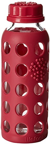 Lifefactory 9-Ounce BPA-Free Glass Water Bottle with Flat Cap and Silicone Sleeve, Raspberry