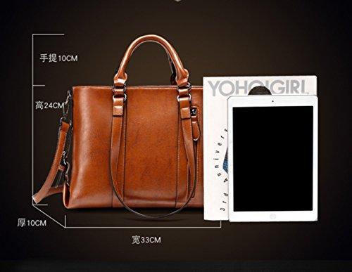 Messenger Fashion Bag Big Leather Simple Bag Portable Bag Soft Leather Handbag Leather Wild FLHT Ladies Black Shoulder wTxPH11