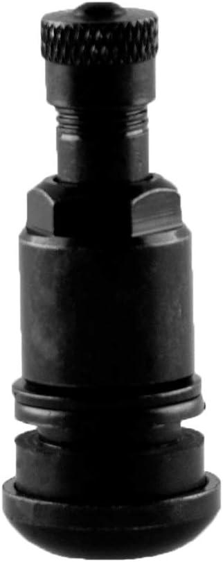 Válvula de metal MS525 Negro (TR416) de latón para llantas de aluminio con agujero de 11,3 mm – Tuerca con SW 11 + arandela – Bolsa de 4 unidades (negro)