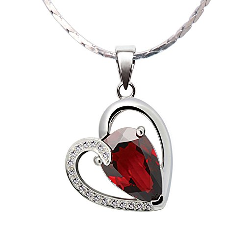 - iSTONE 100% Natural Gemstone Red Garnet Heart 925 Sterling Silver Pendant Necklace Fine Jewelry Gift for Girl Valentine (red)