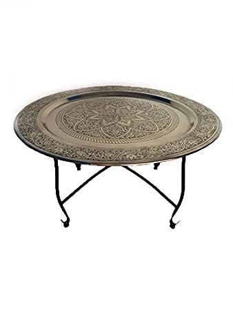 Marokkanischer Tisch Wohnzimmertisch Aus Metall Sule ø 80cm Rund |  Orientalischer Runder Teetisch Mit Klappbaren Gestell