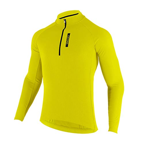 CATENA Men's Cycling Jersey Long Sleeve Shirt Running Top Moisture Wicking Workout Sports T-Shirt Yellow, Large