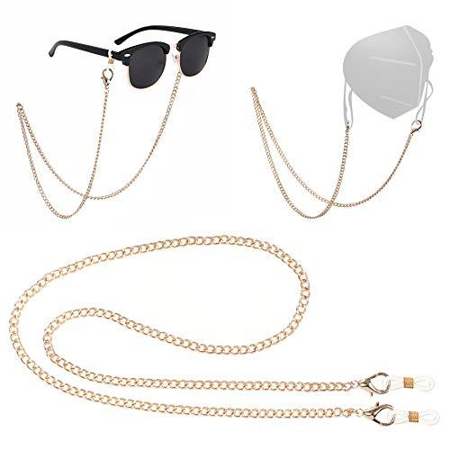 MIAODAM Mask Lanyard, Mask Chain Holder, Anti-lost Mask Holder, Comfortable Women's Eyeglass Chains (1, Gold)