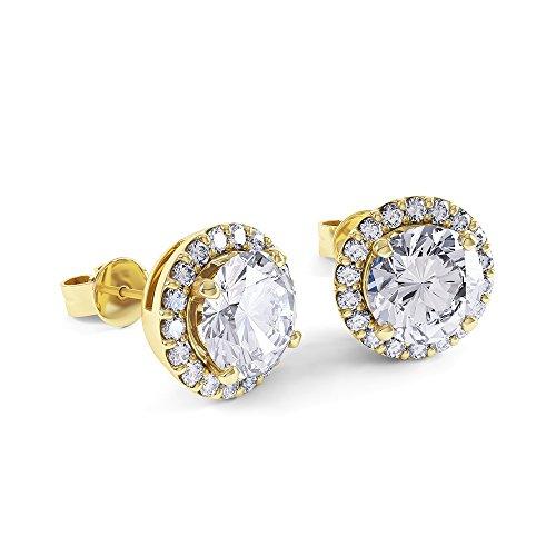 Stardust Boucles d'oreilles clous en Argent 925/1000 ( doré en or jaune 750/1000) avec Diamant 2 carat