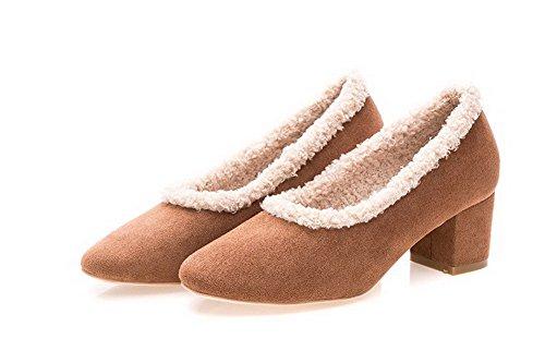 de Tire Zapatos bombas surtidos VogueZone009 Materiales Punta Mezcla de de las mujer colores Marrón Cerrado redonda FFqBI