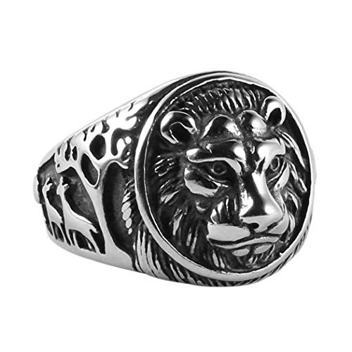 (HZMAN Men's Vintage Stainless Steel Ring Lion Head Shield Biker Gold/Silver)
