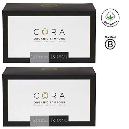 Cora Organic Cotton Tampons with BPA-Free Plastic Compact Applicator; Chlorine & Toxin Free - Variety Pack - Regular/Super (72)