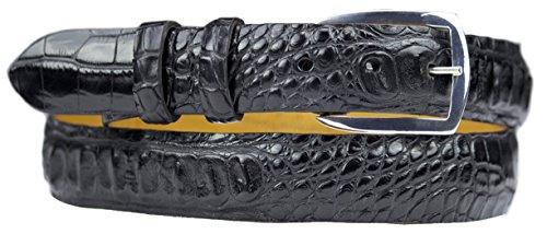Hornback Crocodile Belt (Black Hornback Alligator Belt Strap with Sterling Silver Belt Buckle)