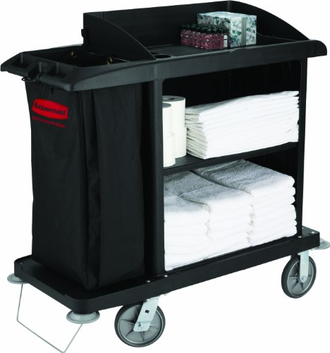 Rubbermaid Commercial Compact Housekeeping Cart, Black, FG619000BLA