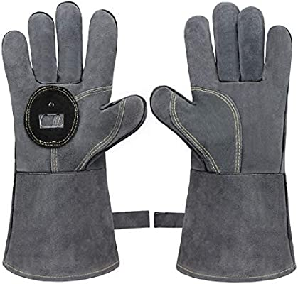 BBQ Gloves with Bottle Opener for Oven//Grill//Fireplace//Furnace//Stove//Forge Safety Bessteven Welding Heat Resistant Gloves