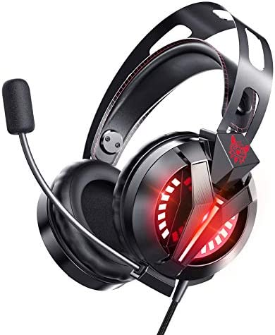 ONIKUMA Gaming Headset for PS4, Gaming Headphones with 7.1 Surround Sound, Xbox One Headset with Noise Canceling Mic LED Light, Over-Ear Headphones for PS4/PS5, Xbox One, PC, Mac, Laptop (Black)