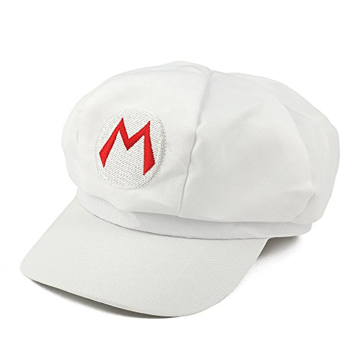 Mens Wario Costumes (Mario, Luigi, Wario, Waluigi, Fire Mario Embroidered Nintendo Newsboy Hat - White Fire Mario)